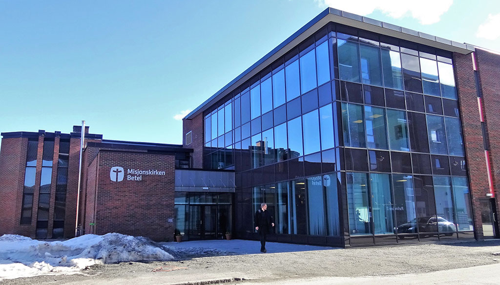 Inngangspartiet til Misjonskirken Betel Mjøndalen.