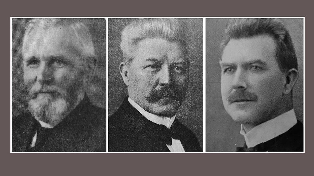 Foto av sentrale personer de første årene, Christiansen, Larsen og Abell.