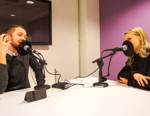 Markus Kvavik og Lisa Børud samtaler