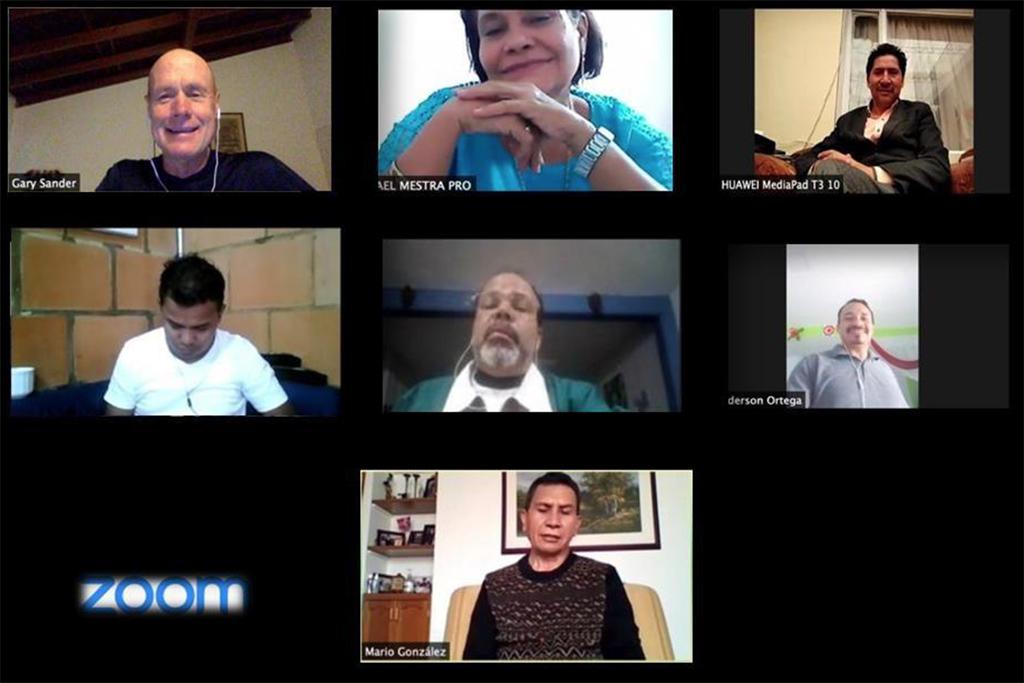 Ledelsen i misjonskirken i Colombia møtes via Zoom
