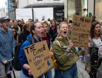 Foto av engasejrte ungdommer for klima. KPK foto.