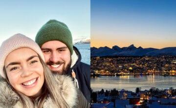 Sunniva og Tobias med Tromsø by i bakgrunnen