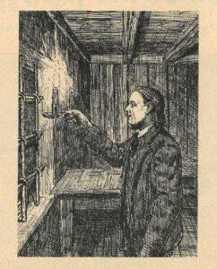 Historisk bilde fra Misjonsbladet av Hans Nielsen Hauge i fengselet med lysestaken.